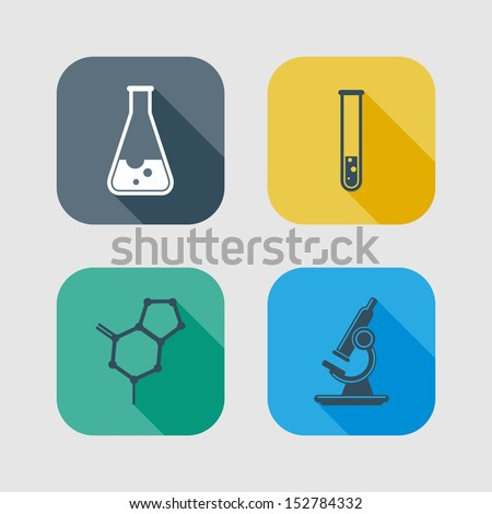 icon set of science signs. flat design with long shadows - stock vector