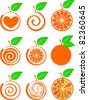 icon set of various fruit - orange isolated on White background. Vector illustration - stock photo