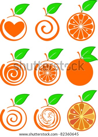 icon set of various fruit - orange isolated on White background. Vector illustration - stock vector