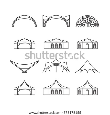 Icon Set Various Types Event Tent Stock Vector 373178155