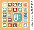 Icon set of weather sticker - stock vector