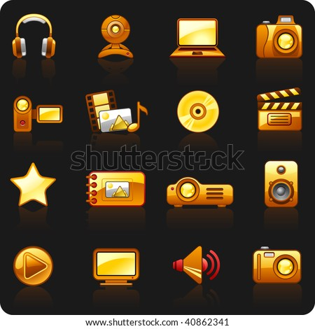 Icon set on a theme Photo and Video orange black background - stock vector