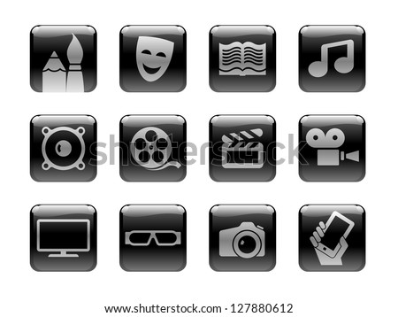 "Icon set on the ""Entertainment Media"" theme. Black and white pictograms on the rounded square ""glossy"" buttons"