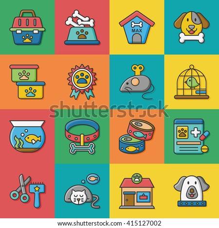 icon set pet vector - stock vector