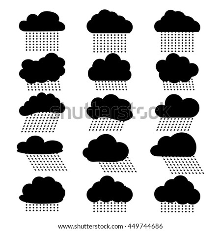 Icon set - rain clouds and rain. A set of frames in the form of clouds. Clouds set of black and white icons. Vector illustration. - stock vector