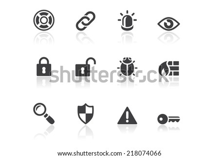 Icon set - Reflection - Security - Illustration - stock vector