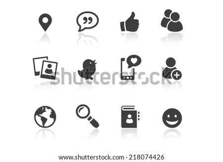 Icon set - Reflection - Social Media - Illustration - stock vector
