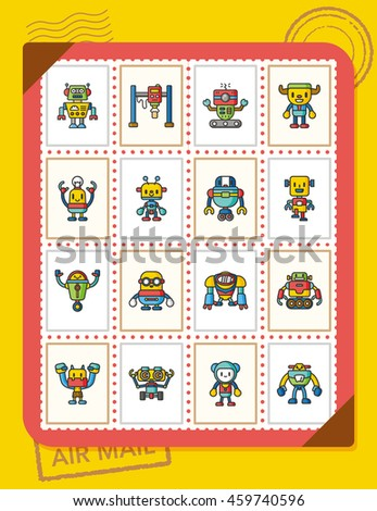 icon set robot vector