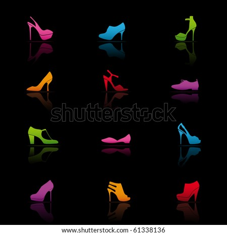 Icon Set, Shoes - stock vector