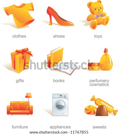 Icon set - shopping, clothes, shoes, toys, gifts, presents, books, stationery, perfumery, cosmetics, furniture, appliances, sweets. Aqua style. Vector illustration - stock vector
