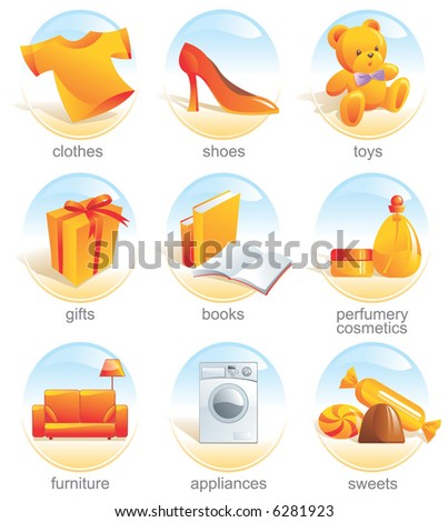 Icon set - shopping, clothes, shoes, toys, gifts, presents, books, stationery, perfumery, cosmetics, furniture, appliances, sweets. Aqua style. Vector illustration. See the similar set - image 3237924 - stock vector