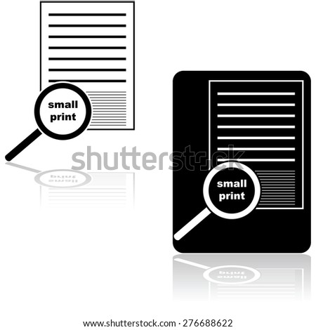Icon set showing a magnifying glass over the small print of a document or contract - stock vector