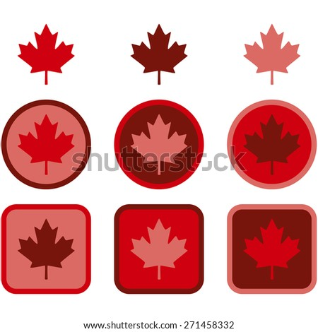 Icon set showing a maple leaf represented in flat design using different shades of red  - stock vector