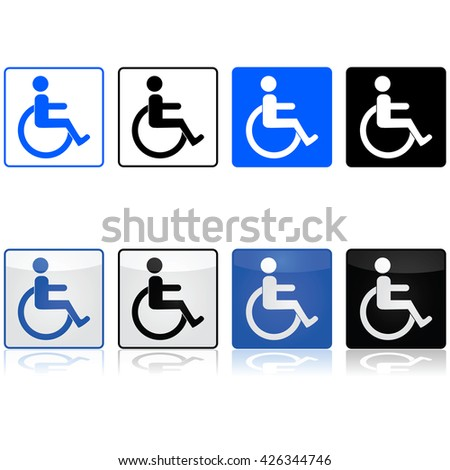 Icon set showing a wheelchair sign represented in different colors and styles - stock vector