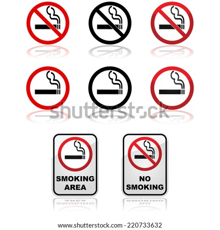Icon set showing traffic signs for smoking and non-smoking areas - stock vector