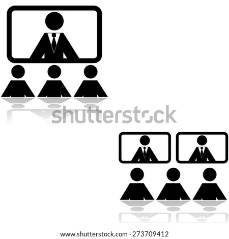 Icon set showing two different teleconference settings - stock vector