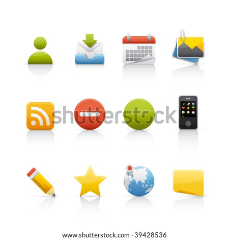Icon Set - Social Media. Set of icons on white background in Adobe Illustrator EPS 8 format for multiple applications. - stock vector
