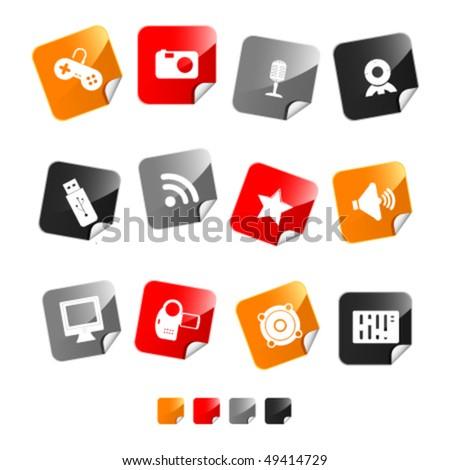 icon set sticker multimedia - stock vector
