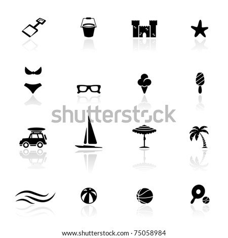 Icon set  Summer and  beach	 - stock vector