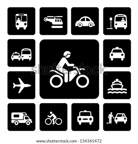 Icon Set Traffic on  Isolated white background - stock vector