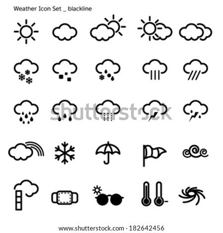 icon set-weather-black line - stock vector