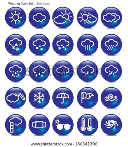 icon set-weather-blue aqua - stock vector