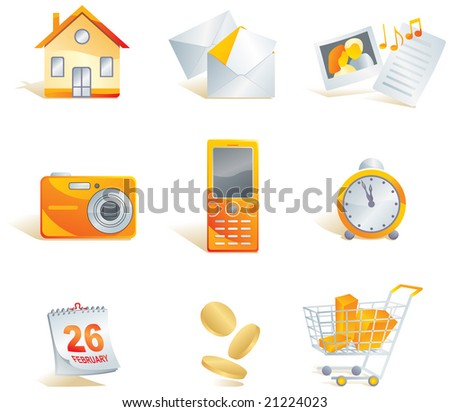 Icon set - web, commerce and electronics items: home, mail, media - images, documents, music, digital camera, cell phone, clock, calendar, money, shopping cart. Vector illustration - stock vector