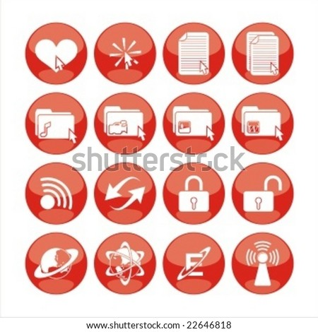 icon set with cute symbol - stock vector