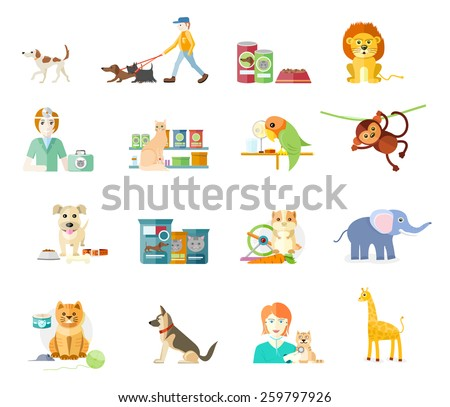 Icon set with home animals silhouettes of pets isolated on white background. Hamster, parrot, cat, elephant, giraffe, monkey and dog in flat design cartoon style - stock vector