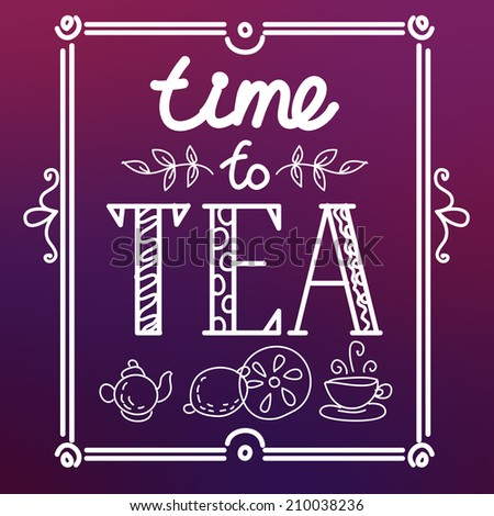 icon set with tea in flat style - stock vector