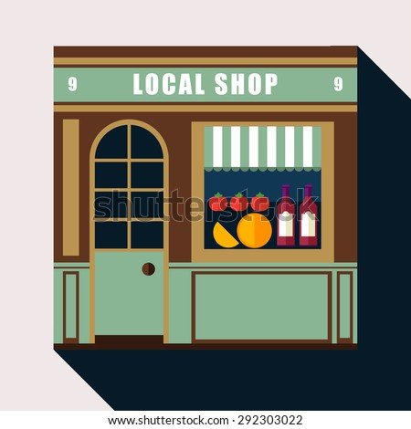 Icon shop or stores with long shadow. Vector cool detailed modern flat design square architecture web icon on old style local  shop store front facade with vine, cheese, tomato exposed in windows - stock vector