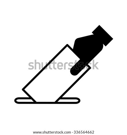 Icon showing a hand submitting a vote or suggestion note. - stock vector