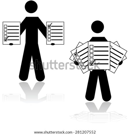 Icon showing a man holding survey cards with different options checked in - stock vector