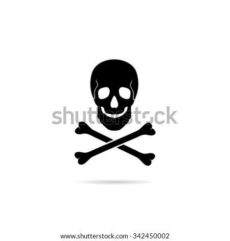 Icon Skull and crossbones - a mark of the danger warning. - stock vector