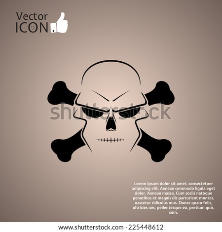 Icon skull and crossbones - a mark of the danger warning. Made in vector - stock vector