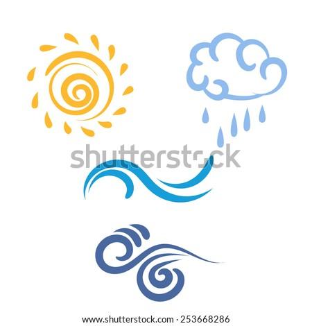 Icon sun, rain, cloud, wind, waves, weather symbol, vector illustration - stock vector