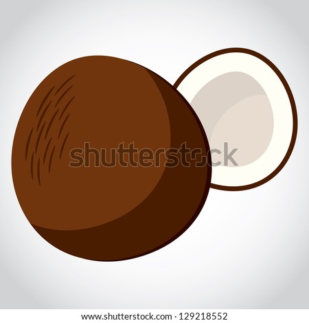 icon sweet rich fruit Coco, isolated object on a white background - stock vector