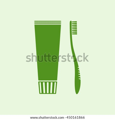 Icon toothbrush and a tube of toothpaste. - stock vector