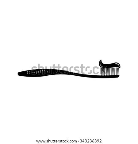 icon toothbrush and toothpaste, cleanliness teeth, oral hygiene, fully editable vector image