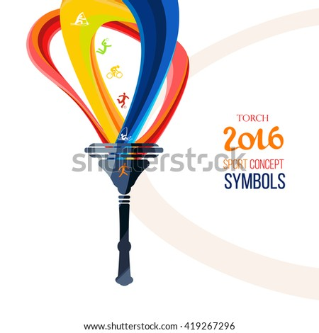 Icon torch. Torch fire, championship icon, a symbol of victory. Isolated vector illustration.Torch flame, torch for web, torch and sports background, torch template. - stock vector