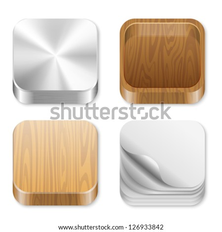 Icon trendy templates for any applications. Different pattern texture collection. UI Square icons set. High detail vector metal, wood, paper. Editable. Creat trendy user interface! - stock vector