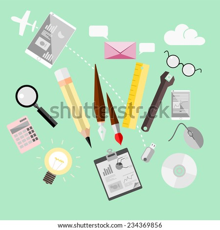Icon vector collection concept in stylish colors of business workflow items and elements, office things and equipment, finance and marketing objects.  - stock vector