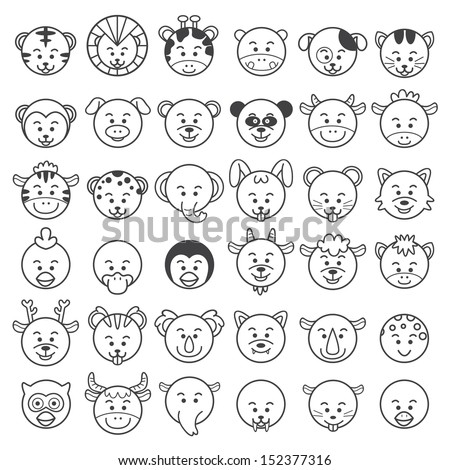 icon Vector illustration of animal faces. EPS10 File - no Gradients, no Effects, no mesh, no Transparencies.All in separate group for easy editing. - stock vector