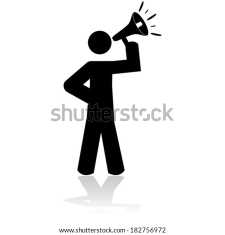 Icon vector illustration showing a stick figure holding a megaphone - stock vector
