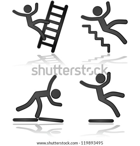 Icon vector illustrations showing a person falling in different types of situations