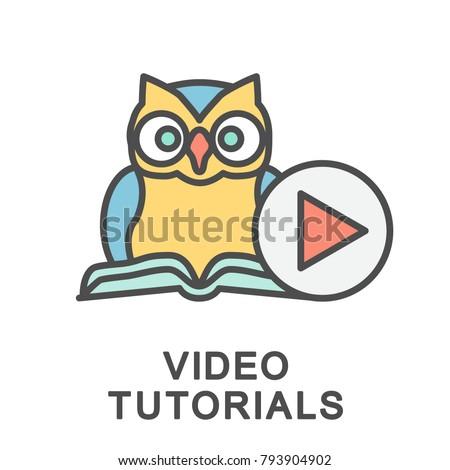 Icon Video Tutorials Owl Symbol Wisdom Stock Vector 793904902