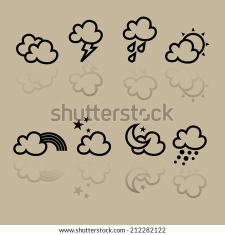 Icon Weather forecast icons set on creamy background