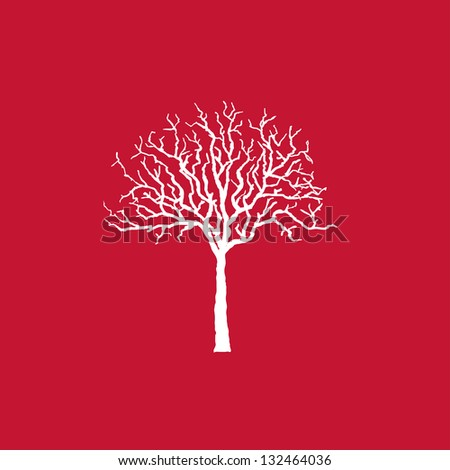 Icon white tree on red, vector illustration. - stock vector