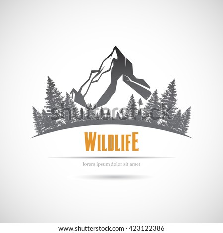 Icon wildlife, mountains and forest. - stock vector