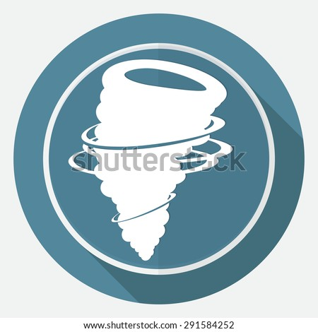 Icon wind on white circle with a long shadow - stock vector